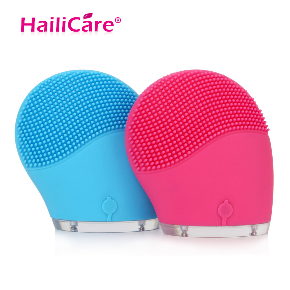 Hailicare eléctrico limpiador de la cara vibrar poro limpio de silicona cepillo de limpieza masajeador Facial vibración de cuidado de la piel de masaje Spa