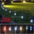 20 pçs/lote Aço Inoxidável Luz Solar Do Gramado 6 opções de cores Luzes Coloridas do Diodo Emissor de Luz Solar Do Jardim Decorar O Seu Quintal