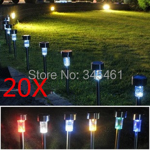 20pcs/lot Stainless Steel Solar Lawn Light 6 color options Solar Garden Light Colorful Led Lights Decorate Your Yard