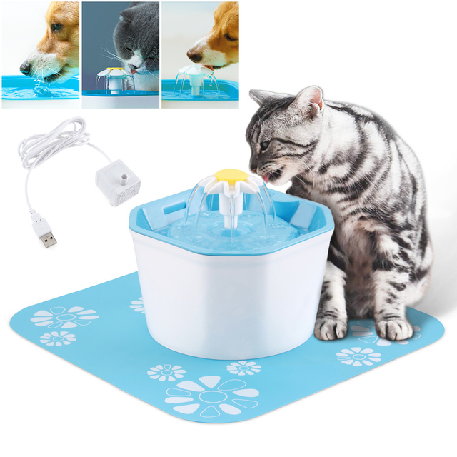 US $16 41 35% OFF 1 6L 5V USB Three Modes Electric Pet Cat Dog Water  Fountain Dispenser with Silent Submersible Pump / Activated Carbon Filter  on