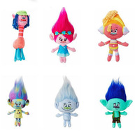 6pcs/lot Trolls Plush Toys Poppy Branch Stuffed Cartoon Dolls The Dreamworks Trolls Kids Brithday Gifts