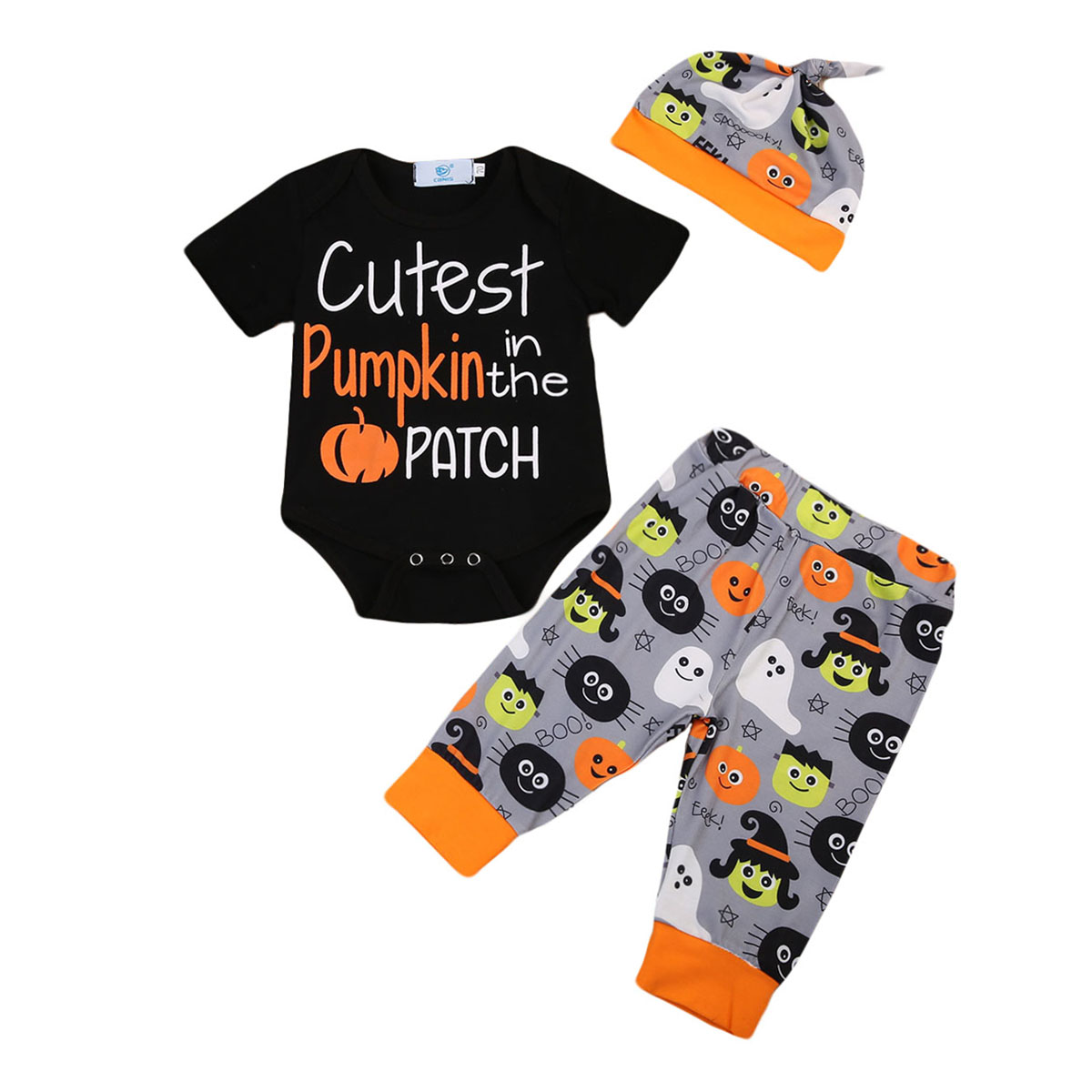 Newborn Baby Boy Girl Clothes Pumpkin Halloween Bodysuit Romper+Pants+Hat Outfits Set