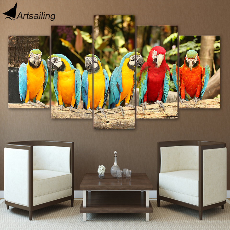 HD Printed 5 Piece Canvas Art Parrot Group Painting Feather Colorful Birds Wall Pictures for Living Room Free Shipping CU-1668C