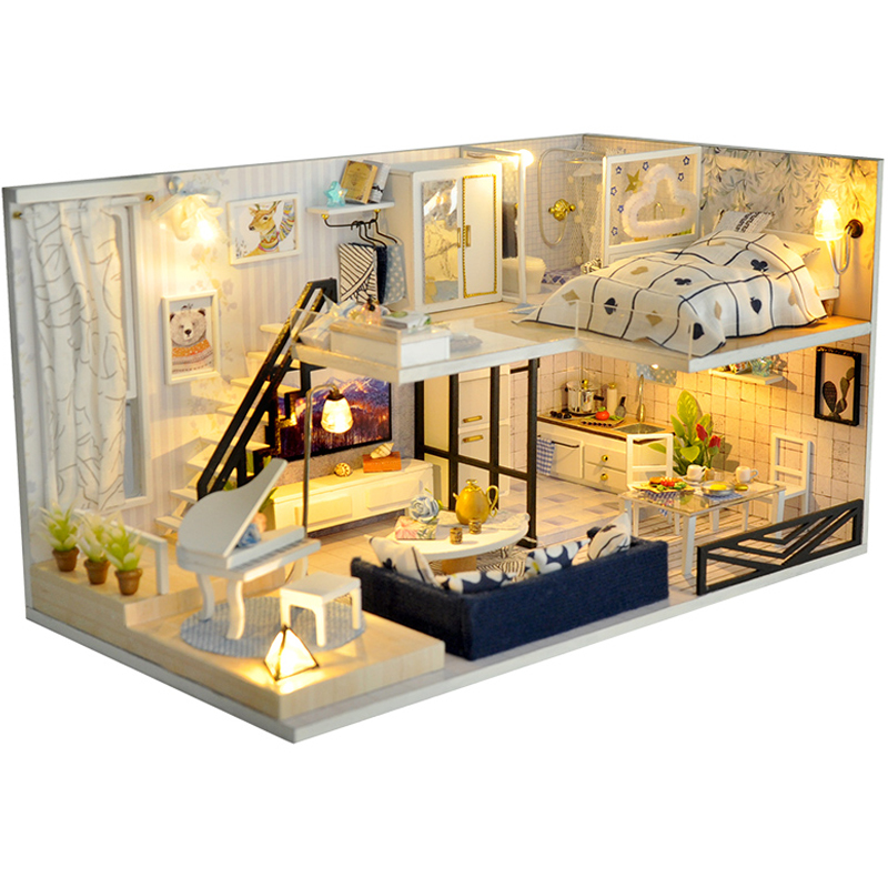 Image 2 - DIY Doll House Furnitures Miniature Doll house Dust Cover Wooden Dollhouse Light  House For Dolls Handmade Toys For Children #EDoll Houses   -