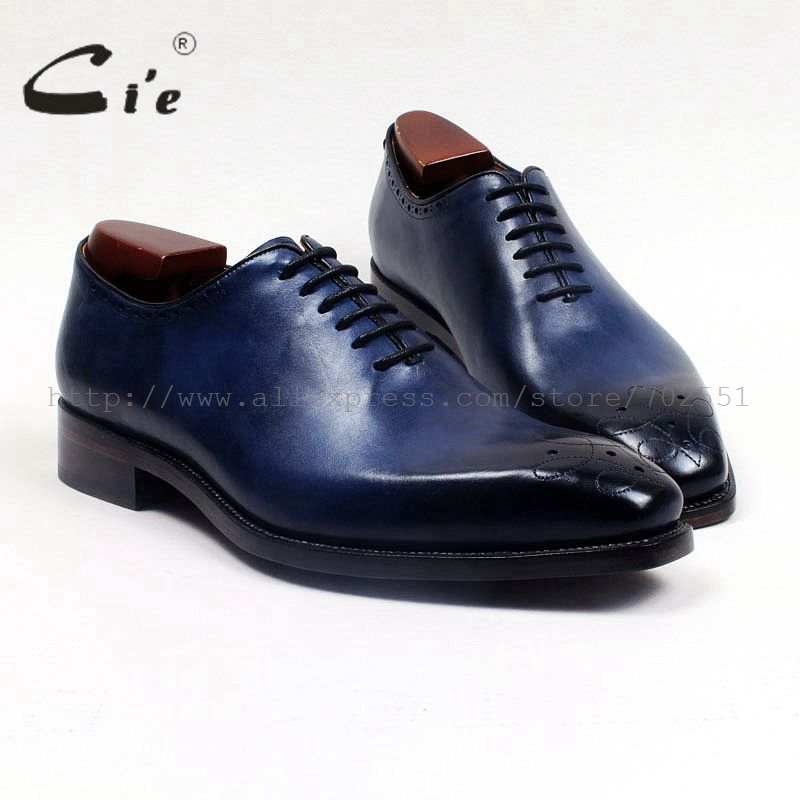cie Square Toe Handmade Whole-cut Lace-up Hand-Painted Calf Genuine Leather Outsole Breathable Men Dress Oxfords Blue ShoeOX512 купить часы haas lt cie mfh211 zsa