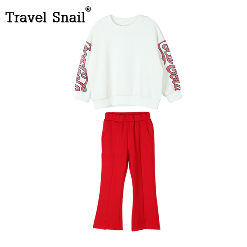 Travel snail 3-8 yrs girls t-shirts+pants sets for kids set children sport suits for girls trousers cotton solid 2018 Spring New 2017 spring autumn children girls set new brand fashion solid shirts cotton pants 2 pieces suits casual kids clothing sets hot