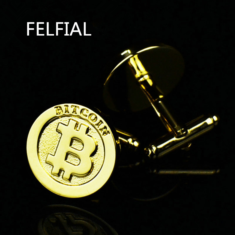 Latest Collection Of Bitcoin Gold Cufflinks Shirt Cufflink For Mens Brand Designer Cuffs Link Button Male High Quality Luxury Wedding Free Shiping Beautiful And Charming