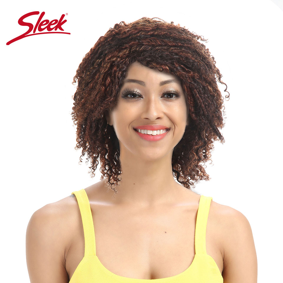 Sleek Hair HH AMY Human Hair Wigs For Black Women Colored SO2/33/30 Short Non-Remy Brazilian Afro Kinky Curly Hair Wig