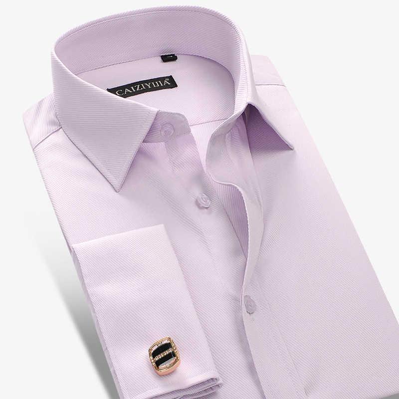 Moda nuevas camisas de vestir para hombre Camisas de puño francés con gemelos de manga larga camisas de boda Camisa Masculina ropa de marca
