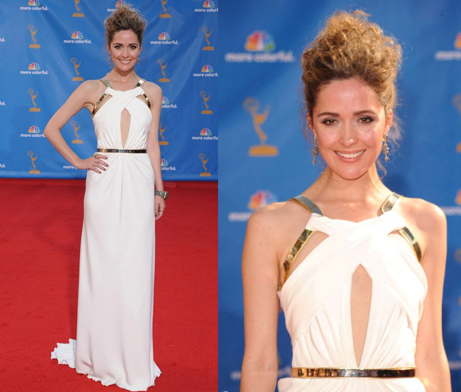 Free Shipping Rose Byrne Emmy Awards 2010 Dress White Chiffon Cool Elegant Celebrity Dresses 01 Evening In From