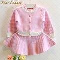 Bear leader outono conjuntos de roupas meninas 2017 nova houndstooth malha ternos de manga longa casacos xadrez + esquetes 2 pcs para crianças ternos