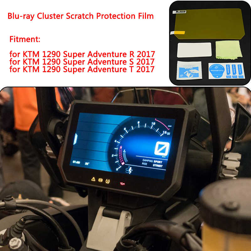 for KTM 1290 Super Adventure R S T 2017 Instrument Dashboard Cluster Scratch Protection Film Screen Protector Blue Light Blu-ray