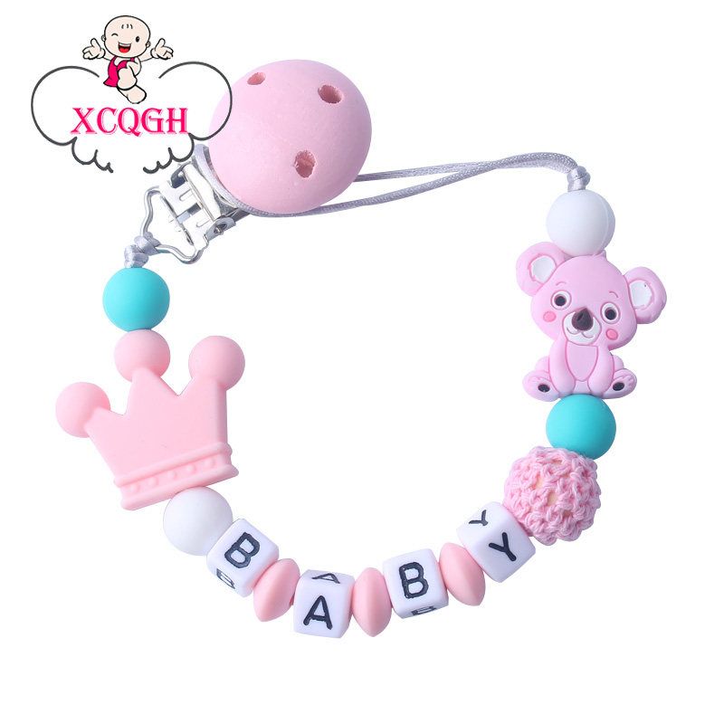XCQGH Customizable Baby Silicone Pacifier Anti-drop Chain Silicone And Wood Beads Animal Cute Pacifier Clips Chains