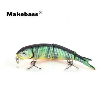 MAKEBASS 3.5 pulgadas/0,26 oz Minnow hundimiento Pesca señuelo Multi-articulado 3 secciones cebos duros artificiales Wobblers Pesca aparejos de Pesca