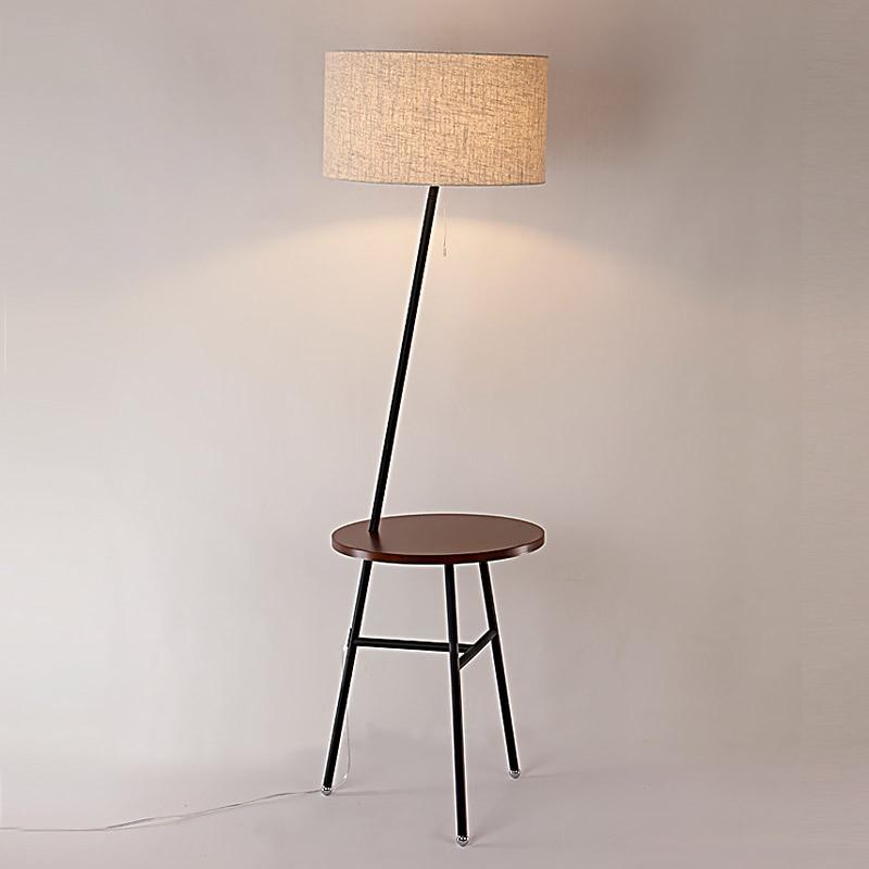 Modern Wood Table Floor Lamp 5W Led Bulb Living Room Bedroom Study Standing  Lamps Black Iron White Fabric Decor Home Lights 220V - White Wood Floor Lamp Promotion-Shop For Promotional White Wood
