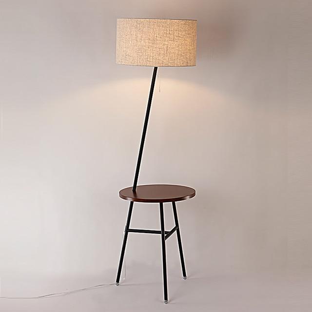 Modern Wood Table Floor Lamp 5W Led Bulb Living Room Bedroom Study Standing  Lamps Black Iron