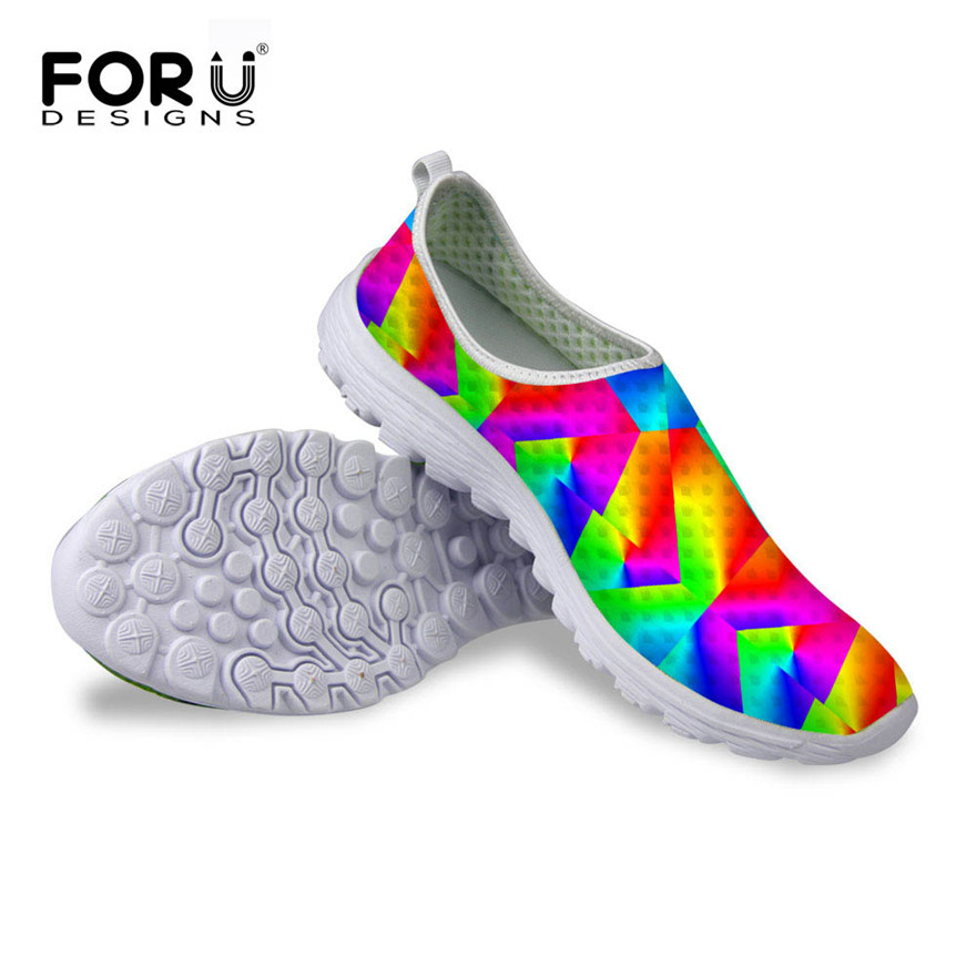 FORUDESIGNS Fashion Women Summer Mesh Flat Shoes,Breathable Female Casual Light Weight Shoes Beach Loafers Lovers Slip-On Flats forudesigns fashion women flat shoes female teens girls floral print casual flats breathable walking shoes for woman plus size