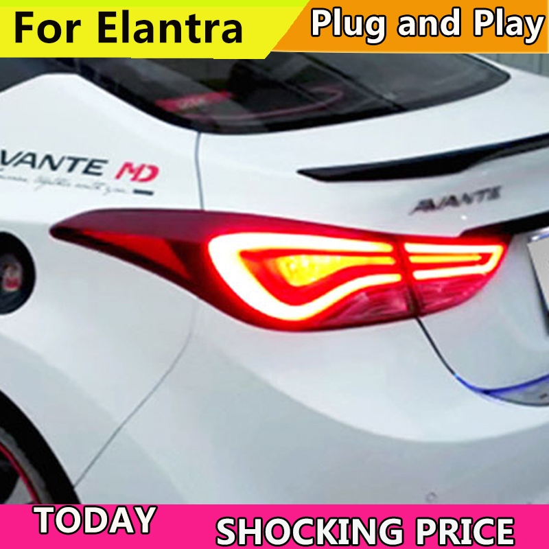 Car Styling for Hyundai Elantra Tail Lights 2010-2017 New Tuscon LED Elantra Tail Light Rear Lamp DRL+Brake+Park+Signal free shipping led tail lamps assy bm style light bar rear lamps tail lights fit for hyundai elantra 2012 2015