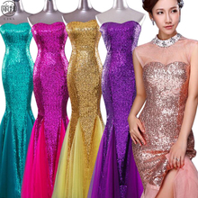 Sleeveless Sequin Tube Eveing Dresses Long Slim Mermaid Dress Simple Floor- length Wedding Party Dress 19a1aa3109f7