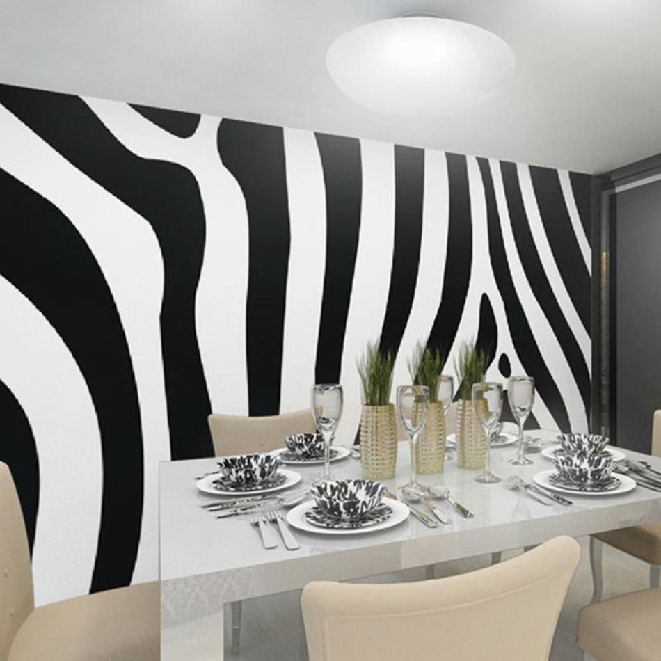 Hitam Putih Art Zebra 3D Ruang Hewan Kustom Foto Wallpaper Mural