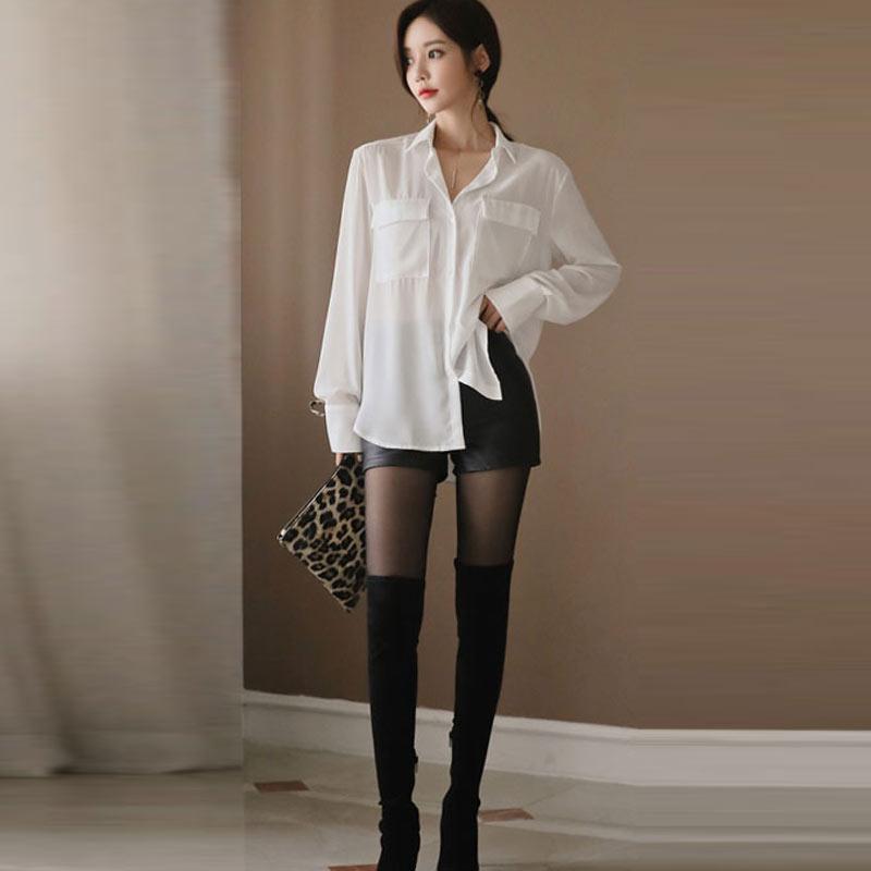 High Waist PU Leather Shorts Korean Fashion Black Spring Autumn Women Shorts Cool Skinny Work Party Wear Female Shorts 4