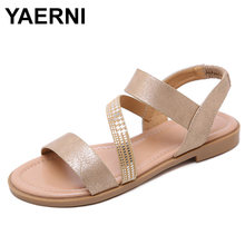 YAERNI 2019 Gladiator Women Sandals Summer Shoes Fashion Beach Sandalias High Quality Outside Peep Toe Low Heels Flats BlackE831(China)