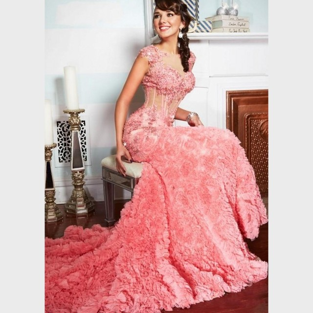 Charming Long Evening Dresses 2017 Newest Hot pink Elegant Party Dress Cap  sleeve Backless Sheer Corset Prom Gowns Vestidos 1d08fc4e5
