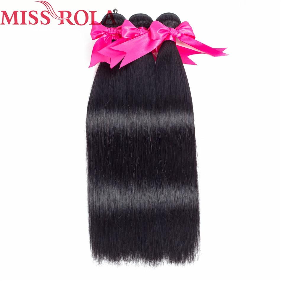 Miss Rola Hair Brazilian Straight Hair Weave 8-26 hüvelyk 100% - Emberi haj (fekete)