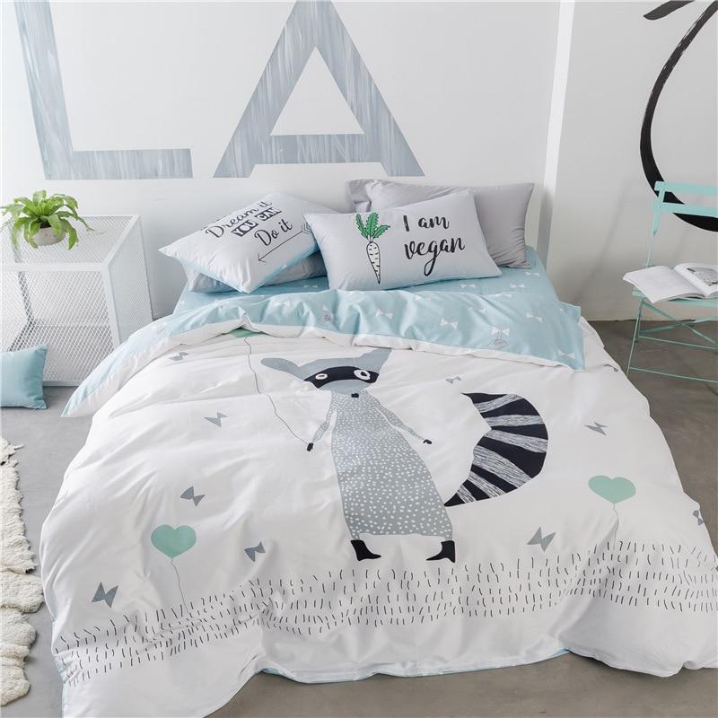 Cute White Gray Fox or Bear Printed Bedding Set Kids Duvet Cover 100 Cotton Bedlinen Comforter