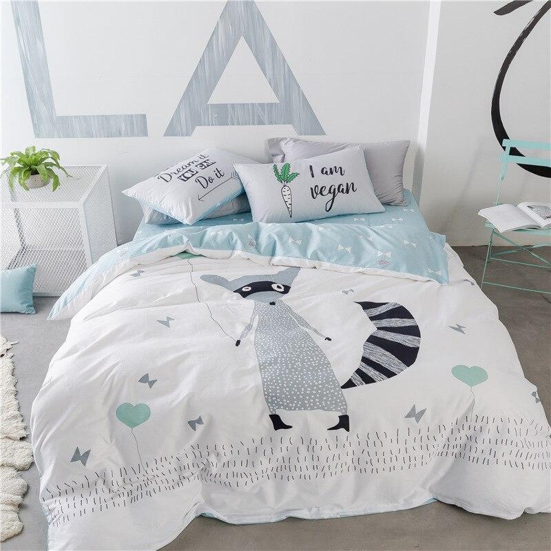 . US  49 99 30  OFF Cute White Gray Fox or Bear Printed Bedding Set Kids  Duvet Cover 100  Cotton Bedlinen Comforter Cover Flatsheet Pillowcases in