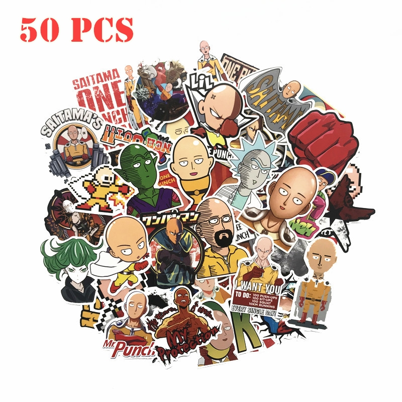 50pcs/set ONE PUNCH-MAN Genos King Luggage Pull Rod Box Graffiti Stickers Tag Creative Toy Fashion Suitcase Paster Anime Sticker