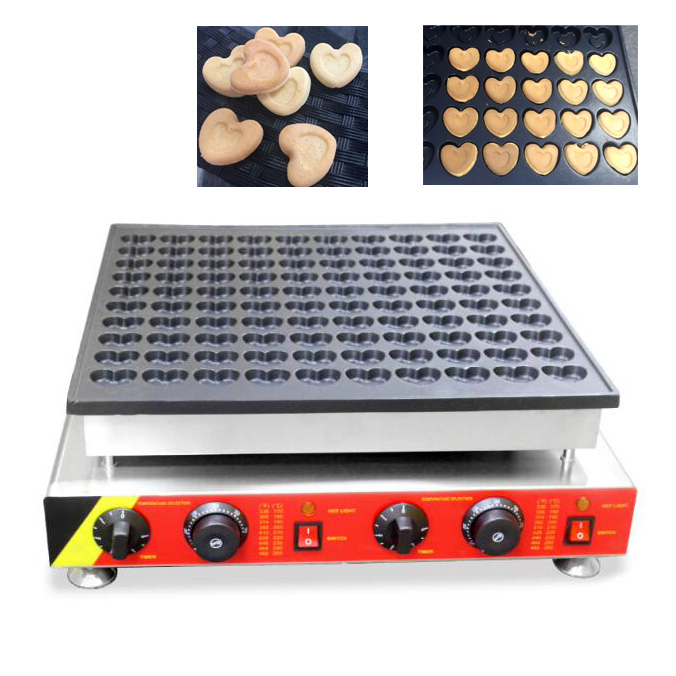 Commercial Non-stick Electric Heart Shape Poffertjes Machine 100pcs/batch Mini Pancake Grill Maker 110v 220v Brand New double pans small pancake machine poffertjes machine with non stick pan poffertjes grill waffle maker with 50 pcs moulds