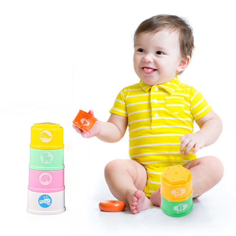Funny Piles stack cup Toys Baby Cute Rainbow Stacking Cups tower Children Set Kids Early Educational Toy nesting cups