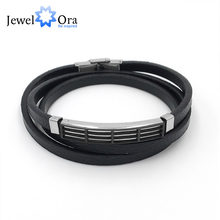 Genuine Leather Bracelet Double Layer Stainless Steel Men Bracelets Trendy Gift 2018 Special Off (JewelOra BA102244)(China)