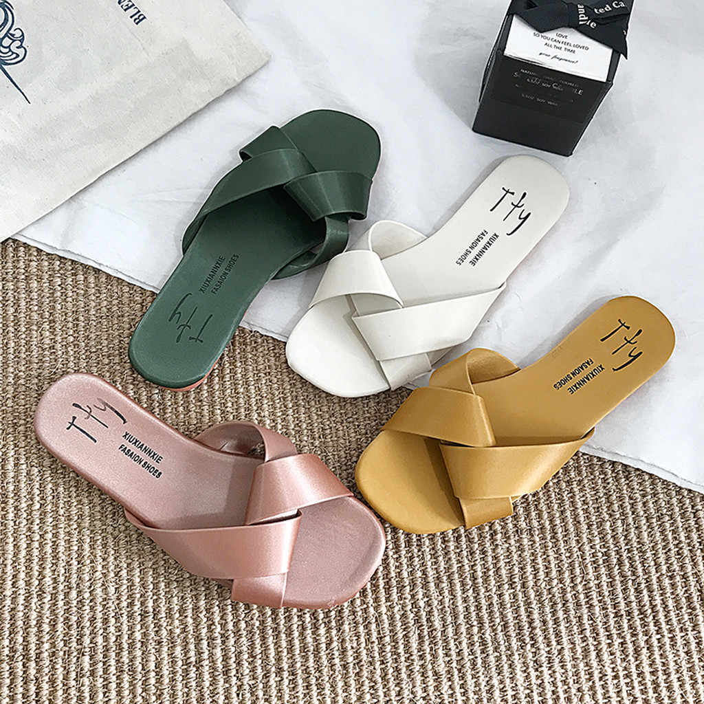 JAYCOSIN Fashion Women's Slipper Women's Ladies Casual Outer Wear Waterproof Flat Cross Slipper Shoes Summer Slipper JUN18