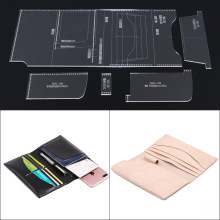 Handmade leather leather DIY handbag long wallet clip type pattern acrylic durable plate template mould female 19x11x2cm(China)