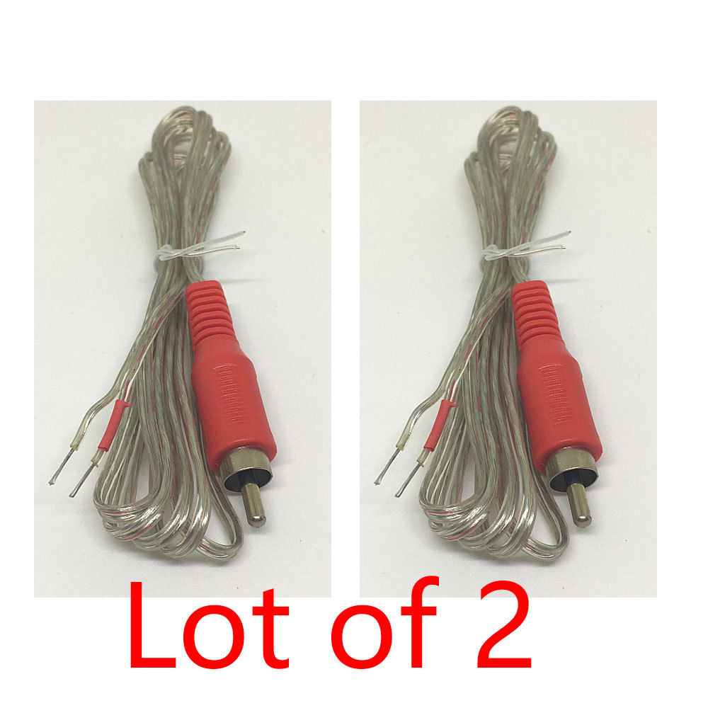 2X Replacement Repair Speaker Bare Wire Cable 5ft With RCA Plug To Stripped Ends