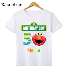 Kids Birthday Boy Number and Name Print O-Neck T Shirt Tees Summer Sesame Street Tops Children T-Shirt Boy/Girl Clothing,ooo3083 недорго, оригинальная цена