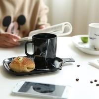 Dish + Mug Household Breakfast Plate Milk Mug Coffeeware Tableware Gift 2pcs/set Modern Marbled Ceramic Dinnerware Set