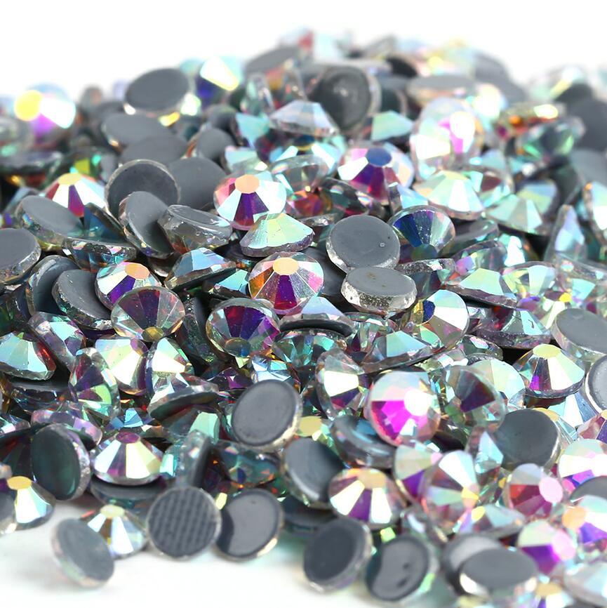 Все размеры 40 цветов кристалл AB исправление стразы, Стекло Стразы исправленное железо на Стразы для дизайна ногтей шитье и ткань Decoretion - Цвет: Crystal AB