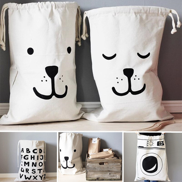 1Pcs Cartoon Cotton Canvas Printing Laundry Big Storage Bag Pouch Toy Clothes Draw String Bag Home Organizer Makeup Tool Kit