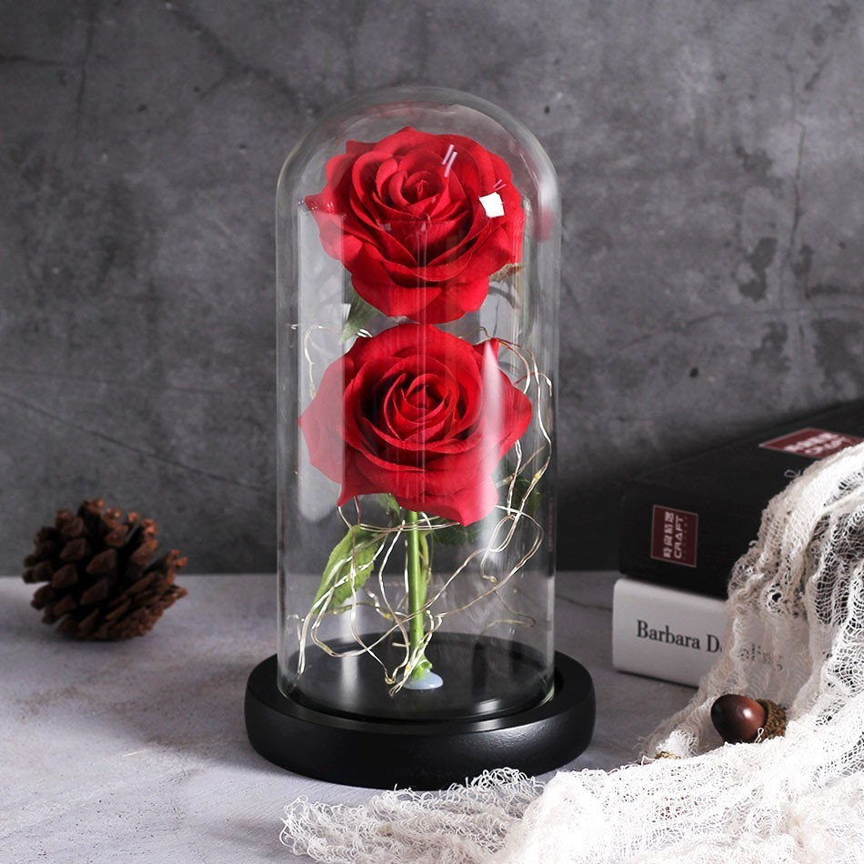 Image 4 - Dropping Rose Light Bottle In Jar Desk Night Light Beauty And The Beast Romantic Gift Bedside Wooden Desk Lamp Romantic Valentin-in LED Night Lights from Lights & Lighting