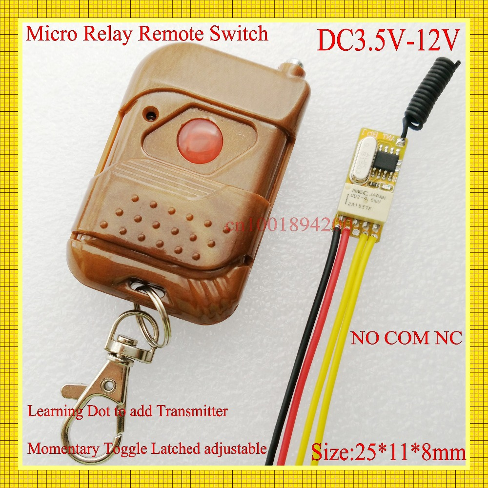 DC3.5V-12V Mini Relay Receiver Remote Control Switches DC3.7V 4.5V 5V 6V 7.4V 9V 12V NO COM NC Micro Wireless LED Power Switch dc 3 5v 12v mini relay wireless switch remote control
