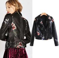 2018 European And American Fashion Short Embroidery Leather Jacket Women Black Leather Jackets Female Motorbike Leather