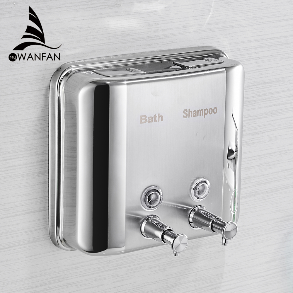 Liquid Soap Dispensers 1500ml 304 Stainless Steel Wall Mounted Bathroom Liquid Hand Soap Dispenser Kitchen Saboneteira Wf 18020