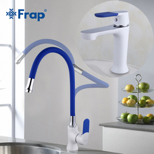 Frap  Multi-color Basin Faucet Kitchen Faucet Silica Gel Nose Any Direction Cold and Hot Water Mixer Torneira Cozinha F1034F4034