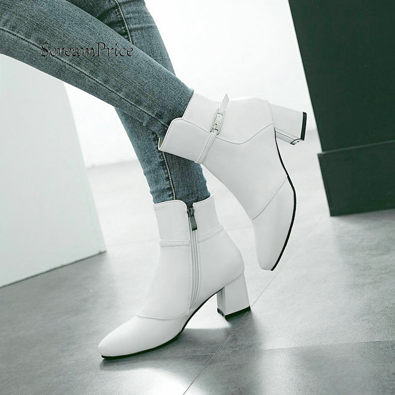 Warm Winter Side Zipper Comfortable Square Heel Ankle Boots Fashion Pointed Toe Women Shoes Black Red Pink White women suede side zipper ankle boots warm comfortable low heel winter shoes black gray