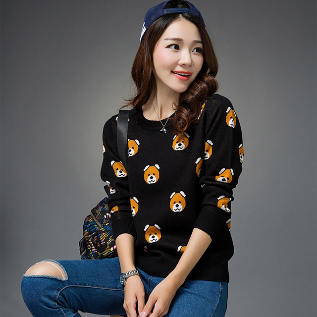 New Women Bear Print Knitted Sweater Jumper Tops Pullover Knitwear Long Sleeve knitted Pullover Femininas Fashion Loose Tops