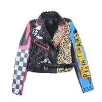 9c3c21728 Hot Fashion Women Faux Leather Jacket Lady Motorcycle Slim Eagle Leopard  Graffiti Printed Jacket Autumn Tide