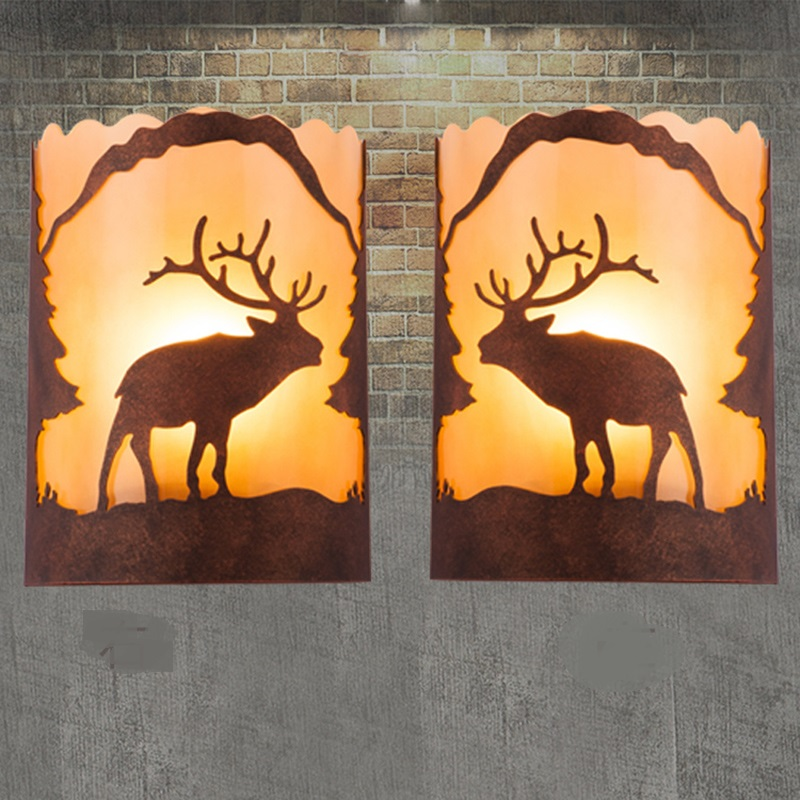 Fer chambre salon couloir lampe de mur lampe de chevet lampe de mur lampes rétro créative Européenne fer escaliers mur lumière ZA912406
